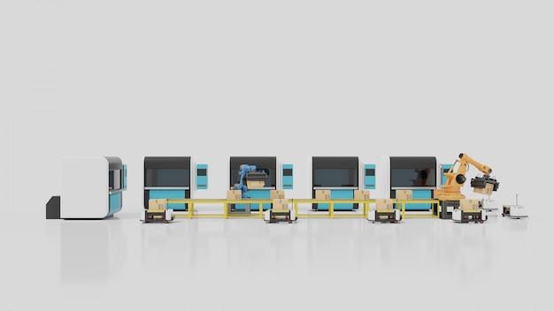 Factory automation mit fts, 3d-druckern und roboterarm, 3d-rendering