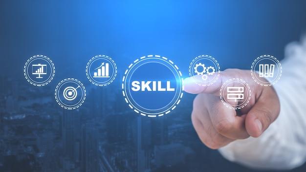 Fähigkeiten bildung lernen persönliche entwicklung kompetenz geschäftskonzept.