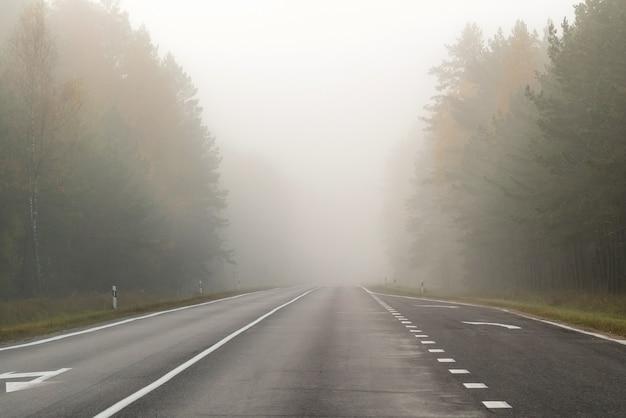 Fahren auf landstraße im nebel. illustration der gefahren des fahrens bei schlechten wetterbedingungen.