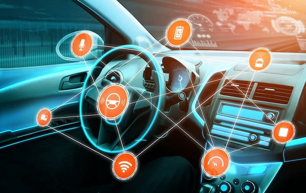 Fahrerloser autoinnenraum mit futuristischem armaturenbrett für autonomes kontrollsystem