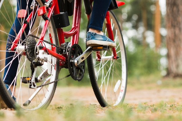 Fahrrad der ansicht von unten auf waldweg