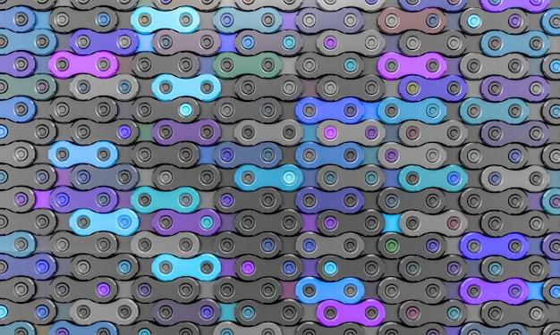 Fahrradkettenglieder in verschiedenen grau- und blautönen.