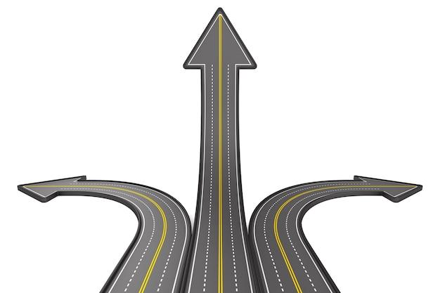 Fahrtrichtung auf weißer fläche. isolierte 3d-illustration