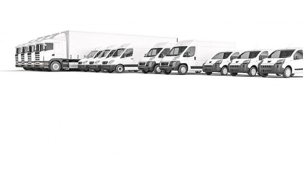 Fahrzeuge mit weißer ware unterschiedlicher größe