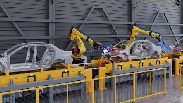 Fahrzeugrahmen auf gleitförderer im automobilwerk mit punktschweißrobotern.