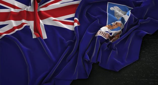 Falklandinseln fahne geknittert auf dunklem hintergrund 3d render