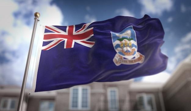 Falklandinseln flagge 3d rendering auf blauem himmel gebäude hintergrund