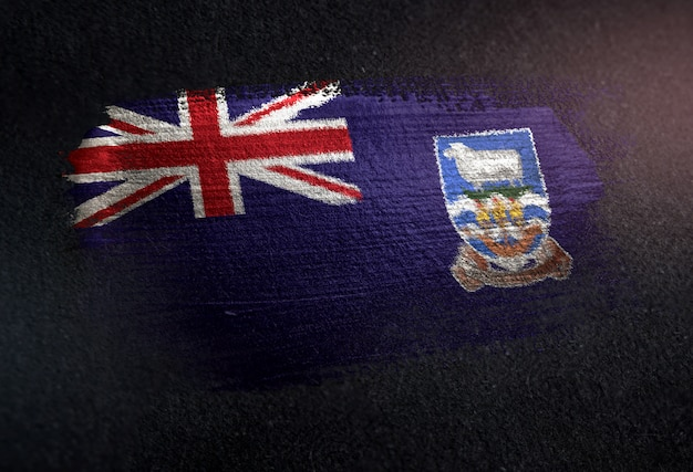 Falklandinseln-flagge gemacht von der metallischen bürsten-farbe auf dunkler wand des schmutzes