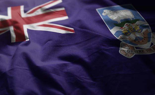 Falklandinseln-flagge zerknittert nah oben