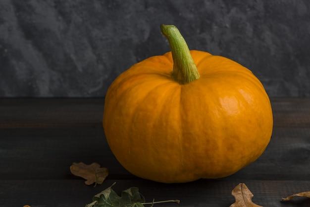 Fall-erntedank- und halloween-kürbis mit trockenen blättern auf einem dunklen hintergrund