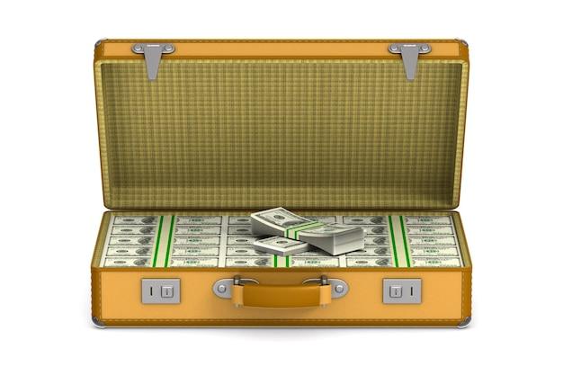 Fall mit bargeld auf weißem raum