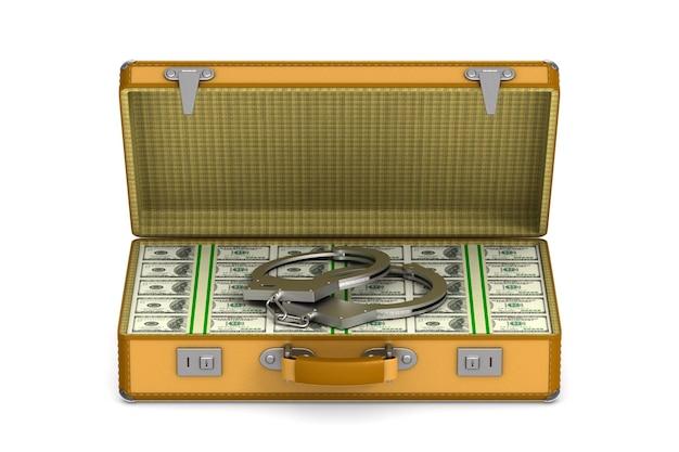 Fall mit bargeld und handschellen auf leerraum. isolierte 3d-illustration