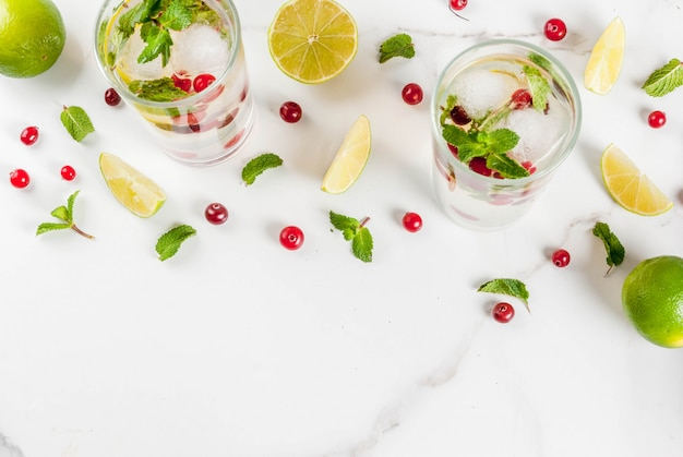Fall- und wintererfrischungsgetränkmoosbeeremojito cocktail mit kalk und minze auf weißer tabelle