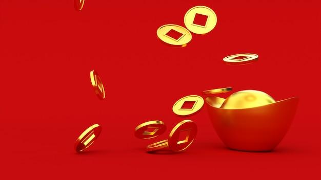 Fallende chinesische glückliche goldene 3d-münzen auf dem barren. hintergrund der roten farbe. frohes chinesisches neujahr. 3d-rendering-abbildung.