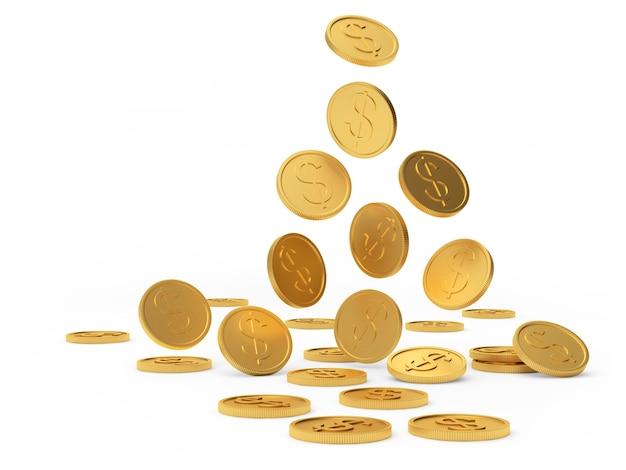 Fallende goldene dollarmünzen