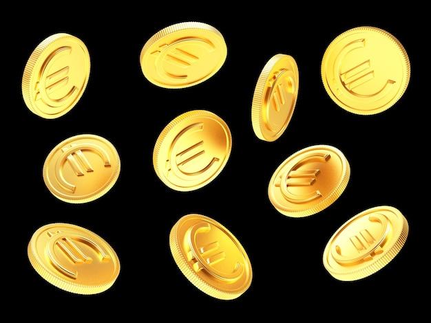 Fallende goldene münzen mit euro-zeichen