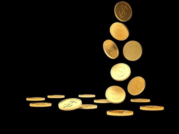 Fallende goldmünzen auf schwarz