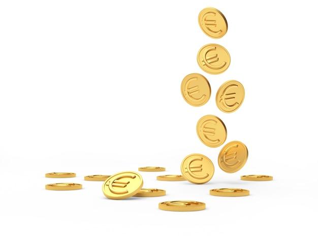 Fallende goldmünzen mit einem euro-zeichen