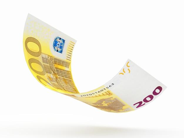 Fallende zweihundert euro banknote kräuselte sich