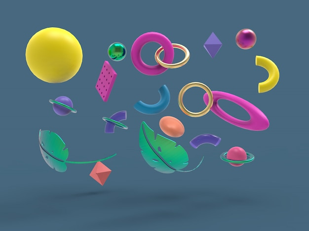 Fallender geometrischer primitiver figuren minimalistischer abstrakter hintergrund, 3d illustration