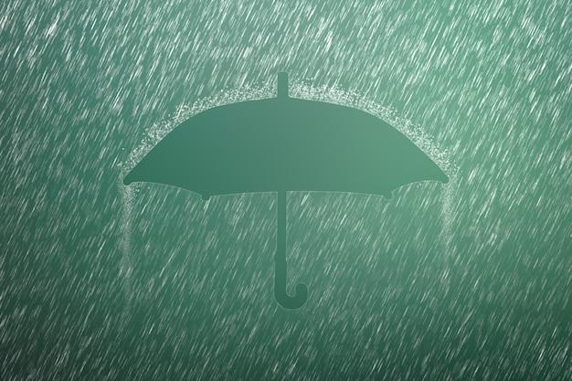 Fallender regentropfen mit regenschirmform. starker regen und wettersturm in der regenzeit.