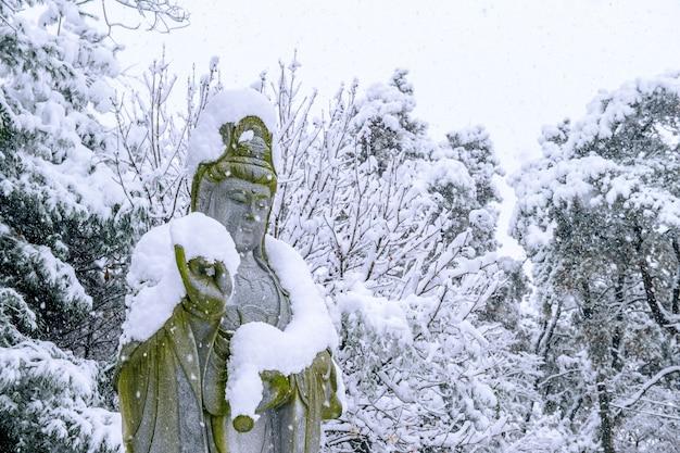 Fallender schnee an der guanyin-statue in einem winter mit schneebedeckten bäumen
