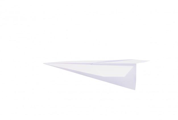 Faltbare papierrakete gegen eine weiße wand