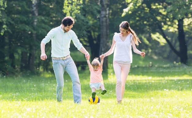 Familie, die zusammen im sommer geht