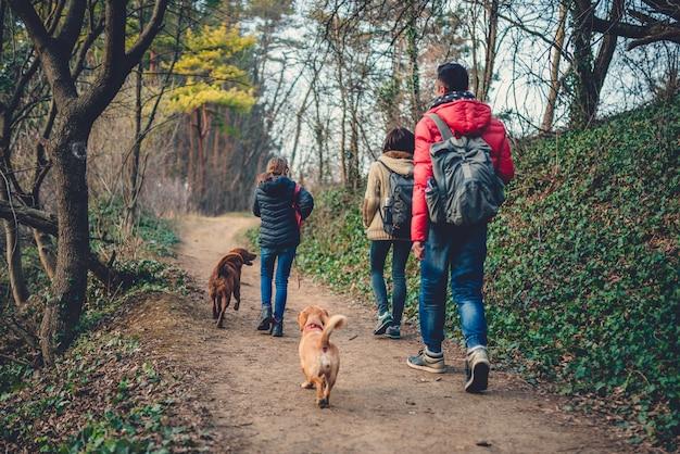 Familie mit dem hund, der am gebirgspfad wandert