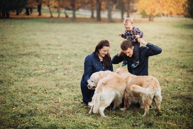 Familie mit einem kind und zwei goldenen apportierhunden in einem herbstpark