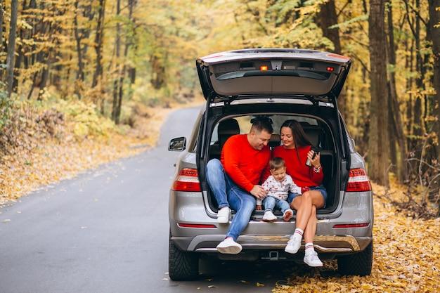 Familie mit einem kleinen sohn im herbstpark, der im auto sitzt