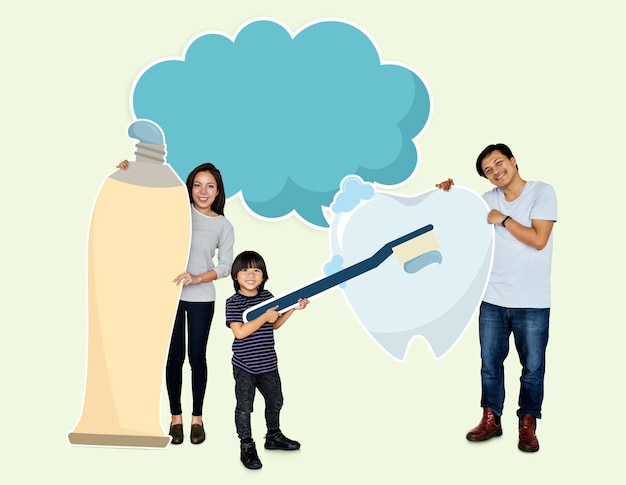 Familie mit guter zahnpflege