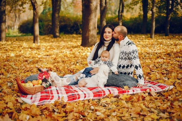 Familie mit sohn in einem herbstpark
