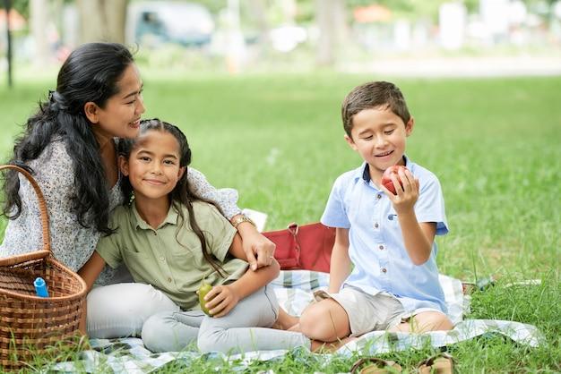 Familie sitzt auf einem picknick