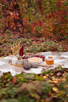 Familienherbstpicknick mit kuchen, kürbis, tee