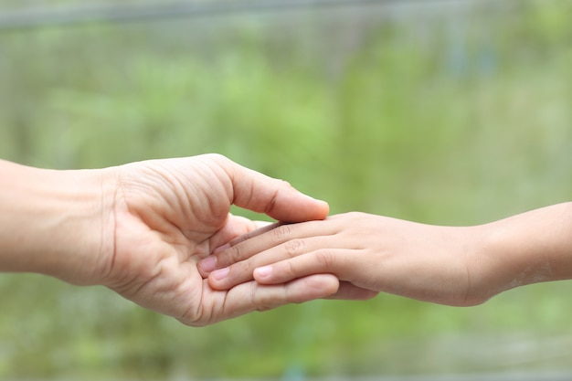Familienhilfe - kinderhand mit liebe und sorgfalt auf mutterhand legen