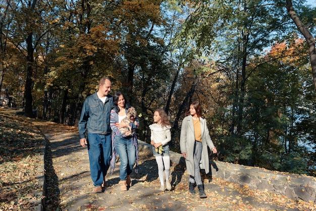 Familienspaziergänge im park mit einem kleinen hund bei sonnigem wetter