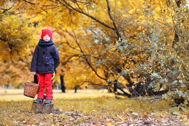 Familienwanderung mit kindern im herbstpark am nachmittag
