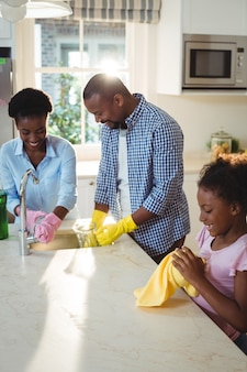 Familienwaschutensilien im spülbecken
