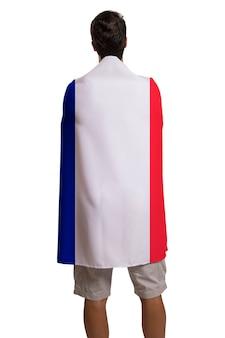 Fan, der die flagge von frankreich hält, feiert auf weißem raum