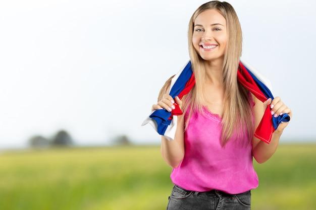 Fansport, der russische flagge hält und feiert
