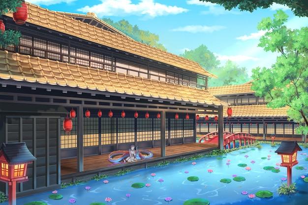 Fantasie-traditioneller japanischer haus - tag.