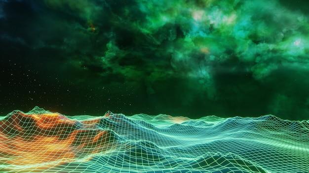 Fantasieuniversum-raumhintergrund, volumetrische beleuchtung. 3d render