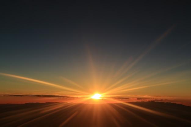 Fantastische ansicht des sonnenaufgangs über den wolken gesehen vom flugzeugfenster