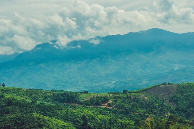 Fantastische landschaft der dalat-berge, vietnam, frische atmosphäre, villa inmitten des waldes, eindrucksform von hügel und berg aus hoher sicht, wundervoller urlaub für ökotourismus im frühling