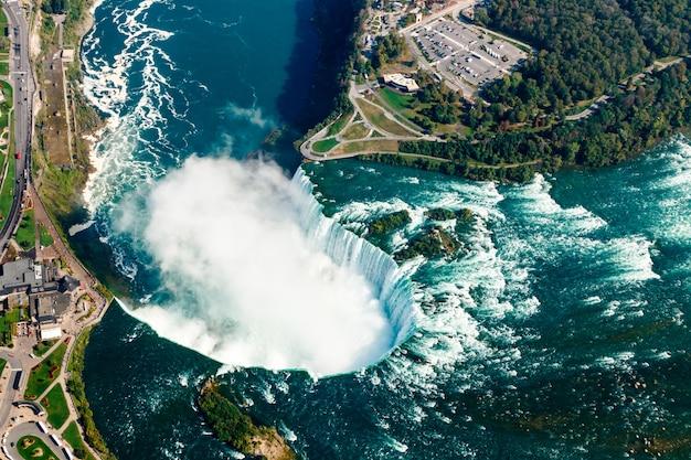 Fantastische luftaufnahmen der niagara falls, ontario, kanada