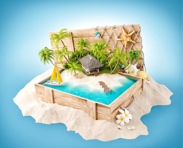Fantastische tropische insel mit bungalow in geöffneter holzkiste auf einem sandhaufen