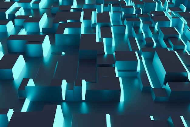 Fantastischer abstrakter hintergrund aus blauen würfeln und lichtpaneelen. zukunftstechnologien. 3d-darstellung.