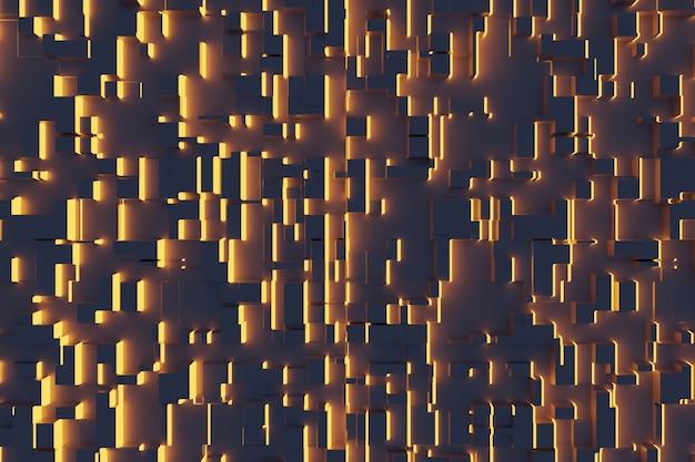Fantastischer abstrakter hintergrund aus orangefarbenen würfeln und lichtpaneelen