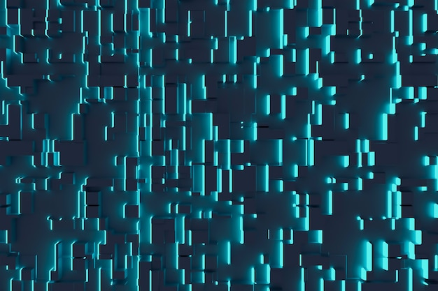 Fantastischer abstrakter hintergrund von würfeln und lichtpaneelen. zukunftstechnologien. 3d-darstellung.
